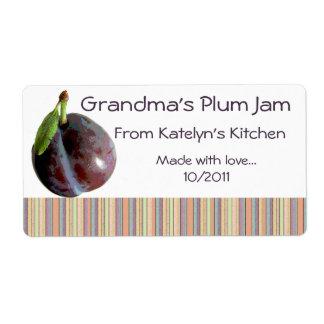 Grandma's Plum Jam Jar Label (Customize) Shipping Label