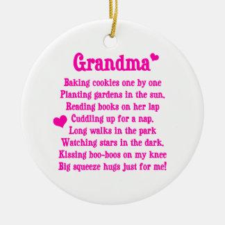 Grandma's Poem Ceramic Ornament