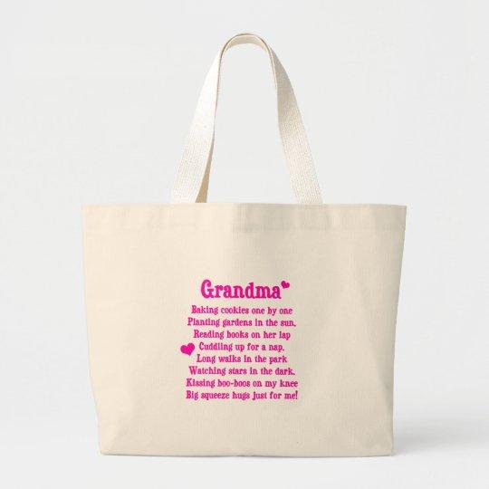Grandma's Poem Large Tote Bag