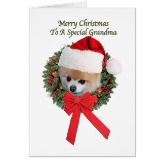 Grandma's Pomeranian Dog Christmas Card