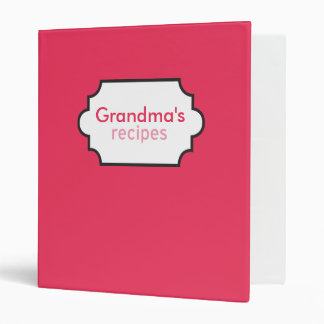 Grandma's Recipes Collection 3 Ring Binder