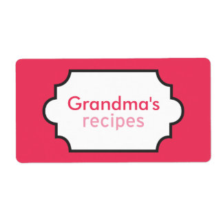 Grandma's Recipes Collection Label