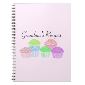 Grandma's Recipes - Frosted Cupcakes Spiral Notebook