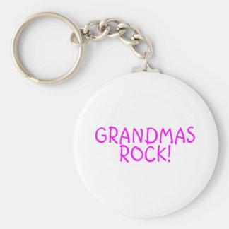 Grandmas Rock Pink Basic Round Button Keychain