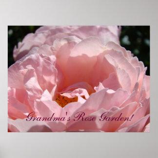 Grandma's Rose Garden art prints Pink Rose Flowers Posters