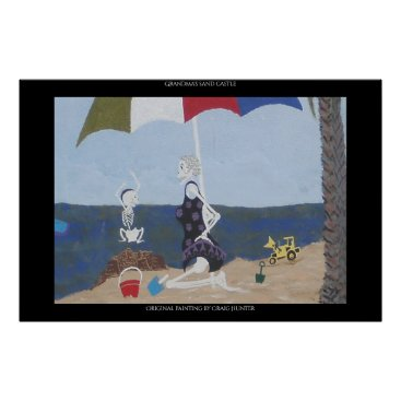 Beach Themed Grandma's sand castle poster