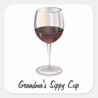 Grandma's Sippy Cup (customizable) Square Sticker