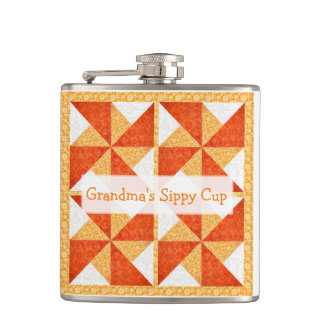 Grandma's Sippy Cup Quilt Look Flask