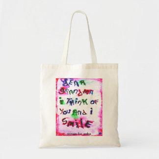 grandma's smile tote bag