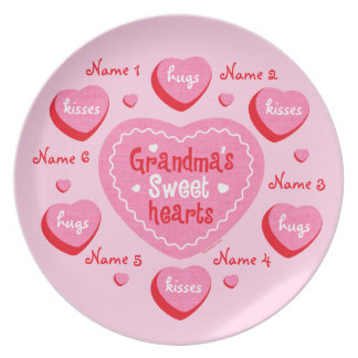 Grandma's Sweethearts Personalized Party Plates