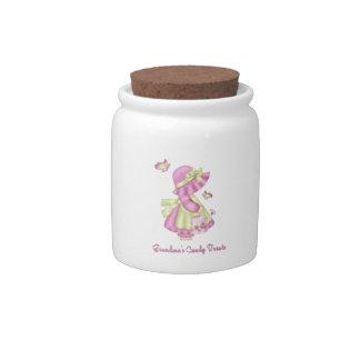 grandma's tasty treats candy jar with little girl