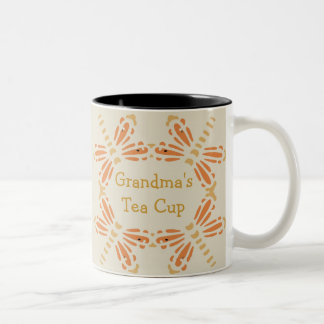 """Grandma's Tea Cup"", orange & tan dragonflies Two-Tone Coffee Mug"
