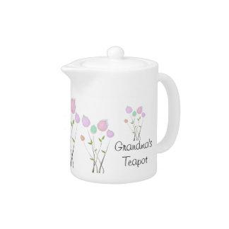 Grandma's Teapot Pastel Floral Design
