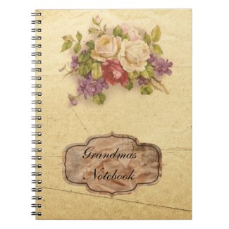 Grandmas Vintage Rose Spiral Notebook