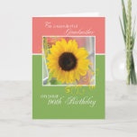 "Grandmother, 90th Birthday, Just a Note Sunflower Card<br><div class=""desc"">Celebrate a special birthday with your grandmother. Send your lovely wishes to her with this card.  It shows a beautiful sunflower on a green and pink card.  This is a perfect way to bring your wishes for her on 90th birthday.</div>"