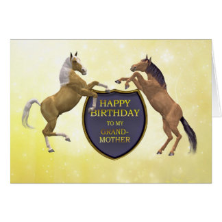 Grandmother, a birthday card with rearing horses