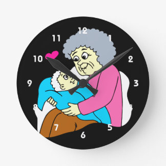 Grandmother and baby grahpic round wallclocks