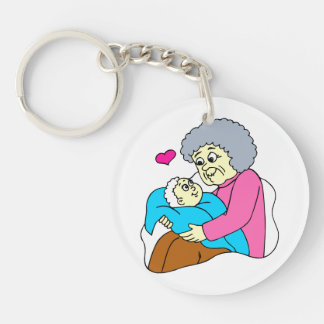 Grandmother and baby grahpic keychain