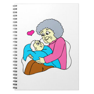 Grandmother and baby grahpic spiral note book
