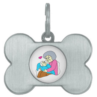 Grandmother and baby grahpic pet ID tag
