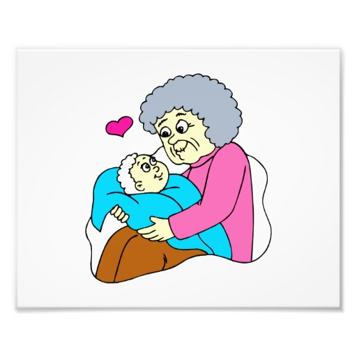 Grandmother and baby grahpic art photo