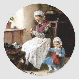 Grandmother and granddaughter sewing classic round sticker