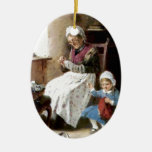 Grandmother and granddaughter sewing ornament