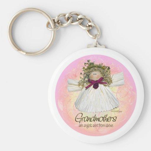 Grandmother Angel - pink Basic Round Button Keychain