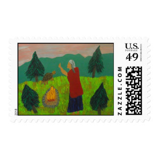 Grandmother at the Fire Postage Stamp
