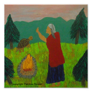 Grandmother at the Fire Poster