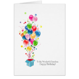 Grandmother Birthday Cards Colorful Balloons