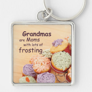 Grandmother Cupcakes Mother's Day, Square Gift Keychain