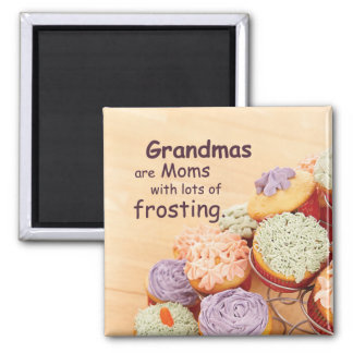 Grandmother Cupcakes Mother's Day, Square Gift Magnet