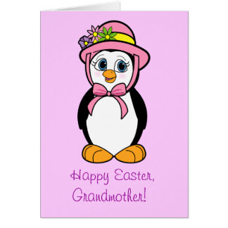 Grandmother Easter Card: Penguin in Bonnet Greeting Card