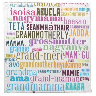 Grandmother In Many Languages Napkins
