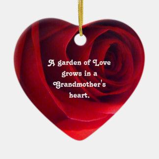 Grandmother Love Pendant Double-Sided Heart Ceramic Christmas Ornament