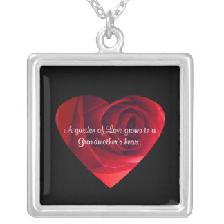 Grandmother Love-Red Rose Heart+Quote Silver Plated Necklace
