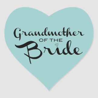 Grandmother of Bride Black on Sea Heart Sticker