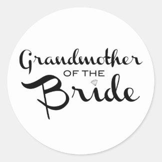 Grandmother of Bride Black on White Classic Round Sticker