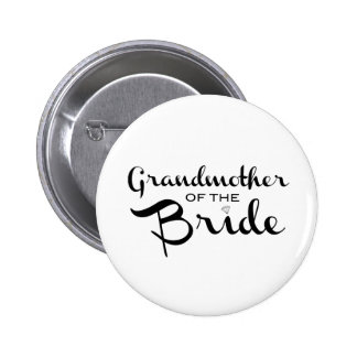 Grandmother of Bride Black on White Pinback Button