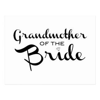 Grandmother of Bride Black on White Postcard
