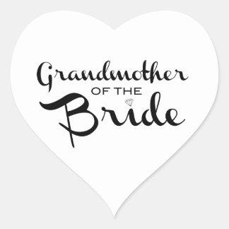 Grandmother of Bride Black on White Heart Sticker