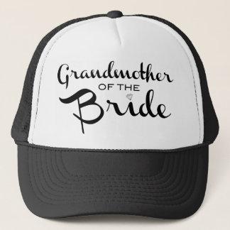 Grandmother of Bride Black on White Trucker Hat