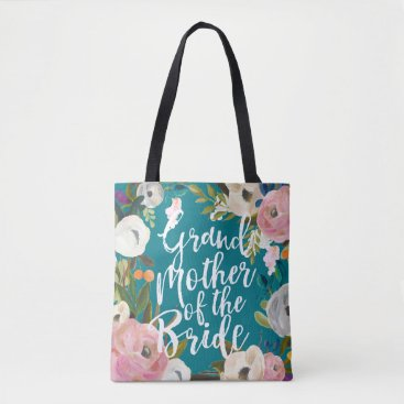 beckynimoy Grandmother of Bride Brushed Floral Wedding Party Tote Bag