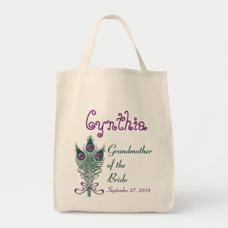 Grandmother of Bride Peacock Teal Purple Custom Tote Bag