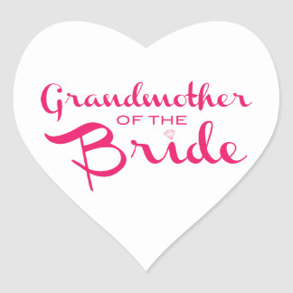 Grandmother of Bride Pink on White Heart Sticker