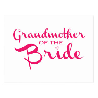 Grandmother of Bride Pink on White Postcard