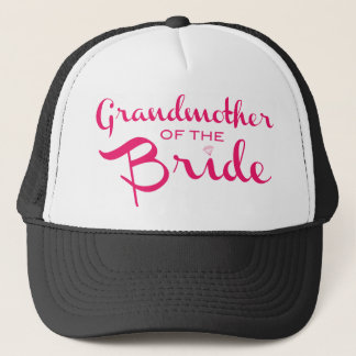 Grandmother of Bride Pink on White Trucker Hat