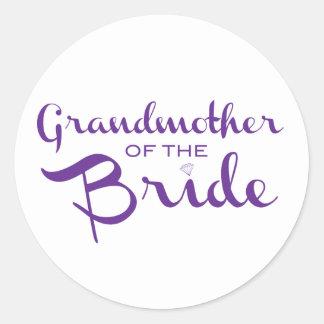Grandmother of Bride Purple on White Classic Round Sticker