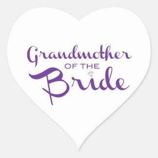 Grandmother of Bride Purple on White Heart Sticker